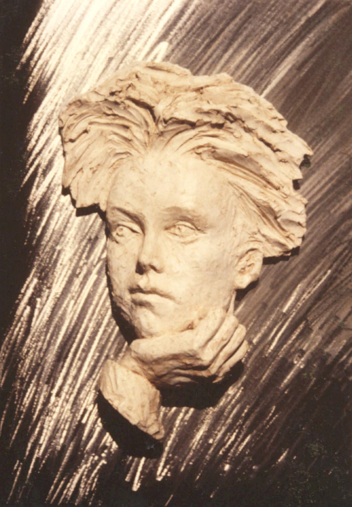 Rimbaud-Roger-Vene-Platre-sur-acier-brossé-H56cm-P10cm